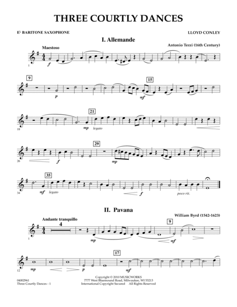 Three Courtly Dances - Eb Baritone Saxophone