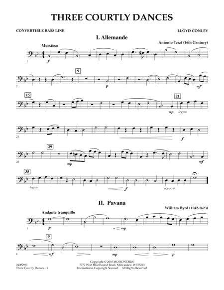 Three Courtly Dances - Convertible Bass Line