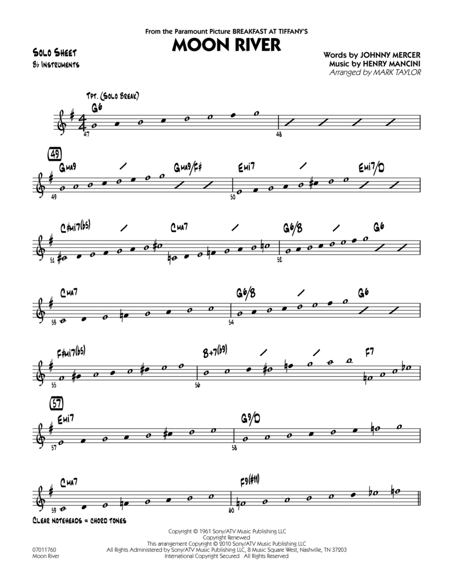 Moon River - Bb Solo Sheet