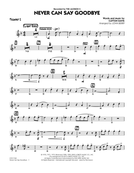 Never Can Say Goodbye - Trumpet 2
