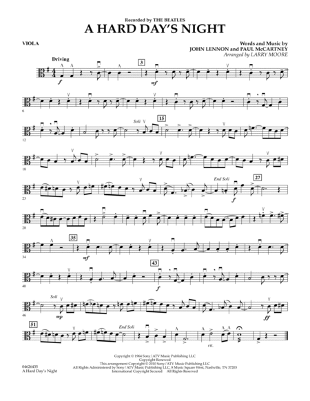 Download a hard day s night viola sheet music by the beatles sheet