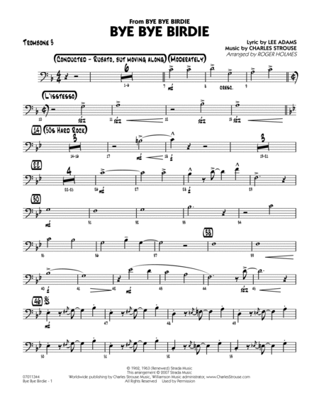 Bye Bye Birdie (w/ opt. Vocal) - Trombone 3