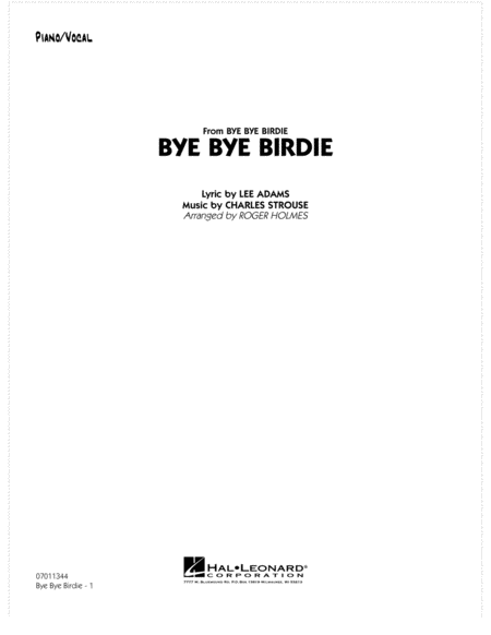 Bye Bye Birdie (w/ opt. Vocal) - Piano/Vocal Solo