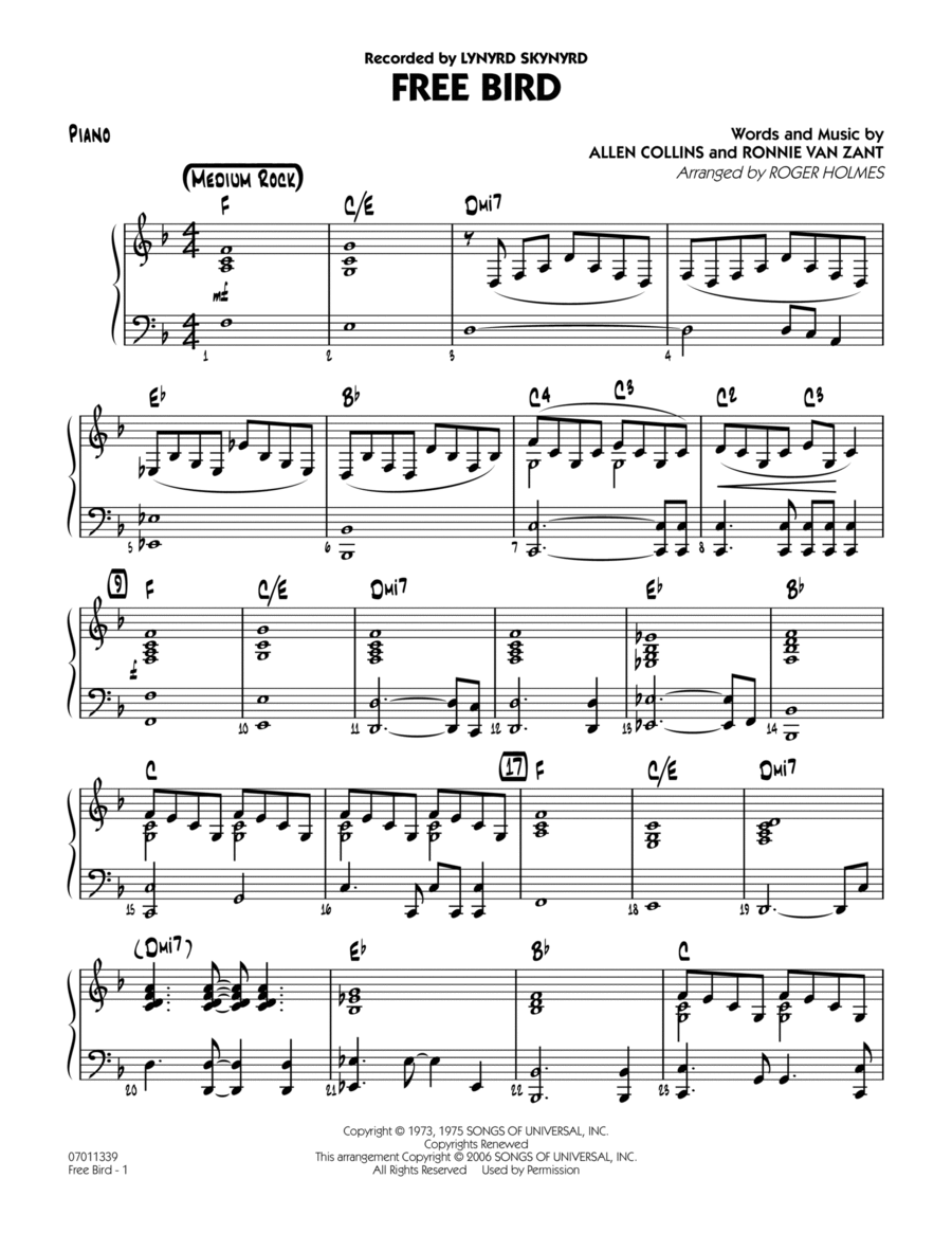 Free Bird - Piano