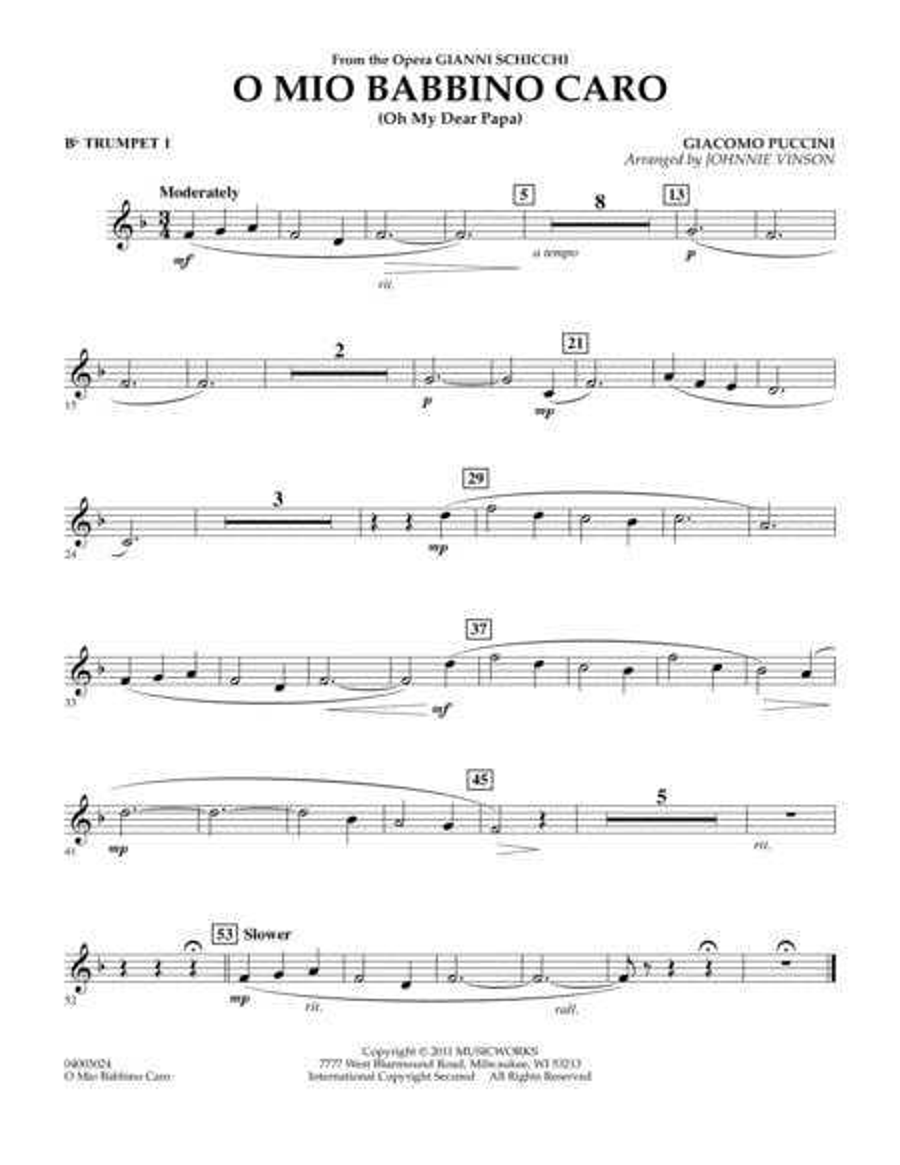 O Mio Babbino Caro - Bb Trumpet 1
