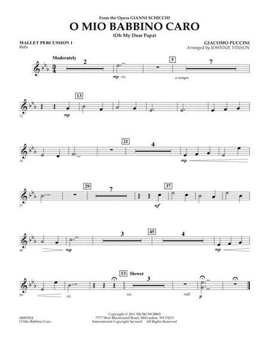 O Mio Babbino Caro - Mallet Percussion 1