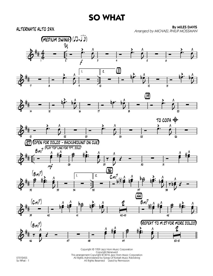 So What - Alternate Alto Sax