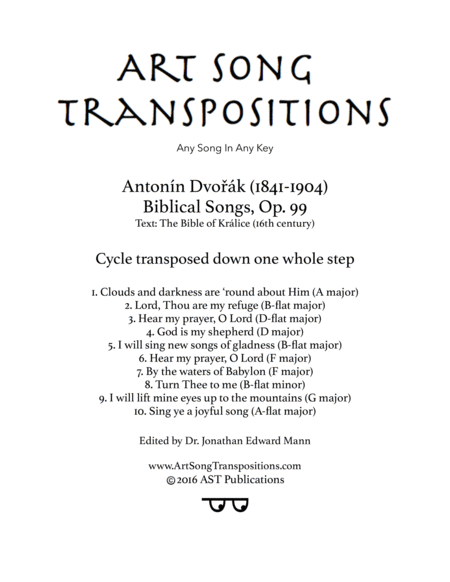 Biblical Songs, Op. 99 (Transposed down one whole step)