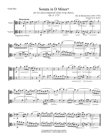 Sonata in D Minor Op. 6  for viola duet