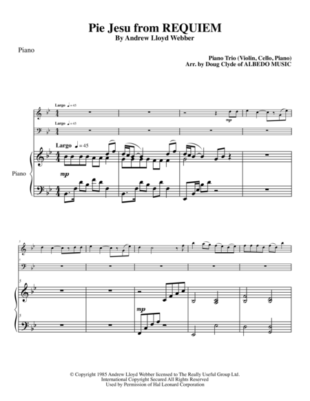 Pie Jesu from REQUIEM for Piano Trio