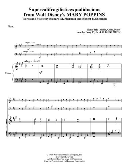 Supercalifragilisticexpialidocious from Walt Disney's MARY POPPINS for Piano Trio