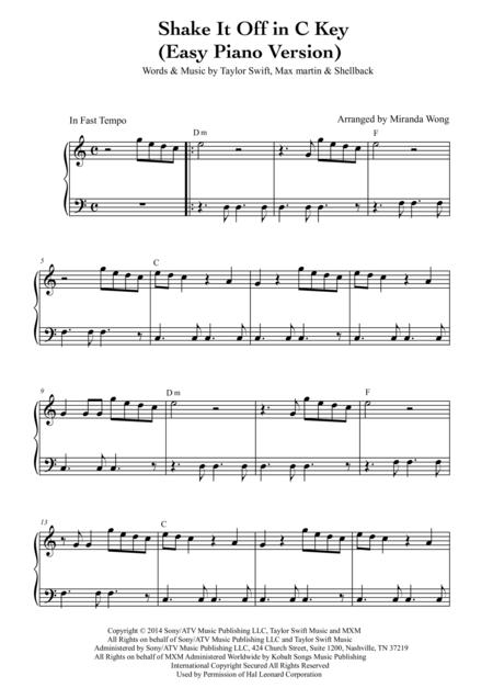 Shake it Off - Easy Piano Solo