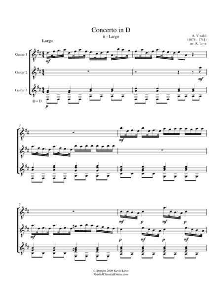 Concerto in D - ii - Largo (Guitar Trio) - Score and Parts