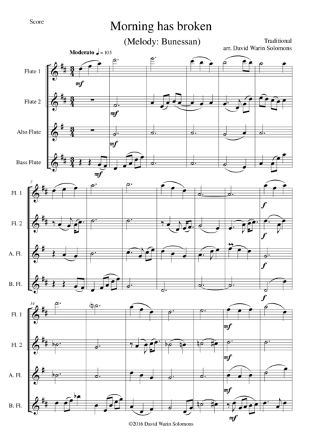 Morning has broken (Bunessan) for flute quartet