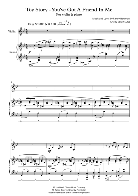 Toy Story - You've Got A Friend In Me (for violin and piano, including part score)