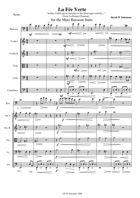 La fée verte for bassoon and string orchestra