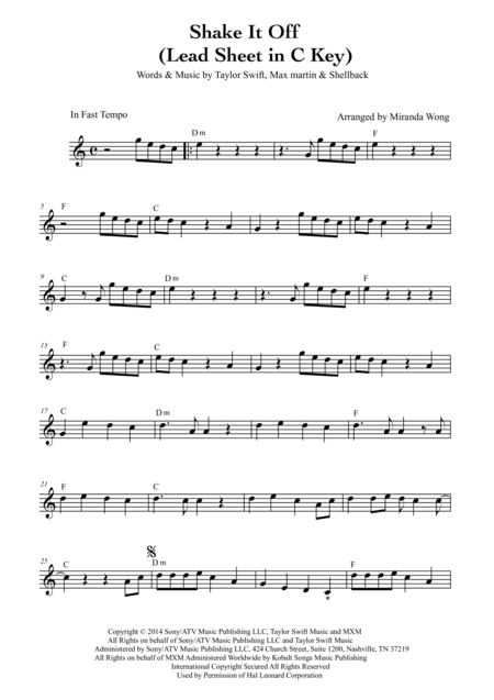 Shake it Off - Alto Saxophone or Baritone Saxophone Solo