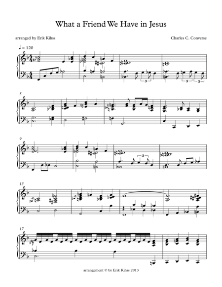 What A Friend We Have in Jesus - a piano arrangement by Erik Kihss