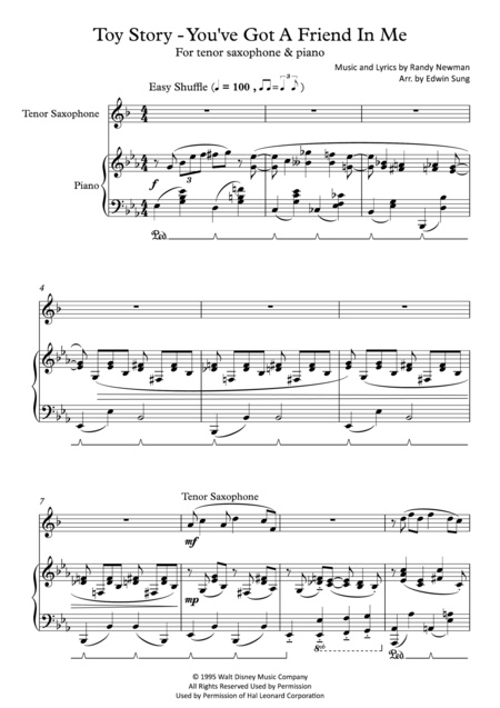 Toy Story - You've Got A Friend In Me (for tenor saxophone and piano, including part score)