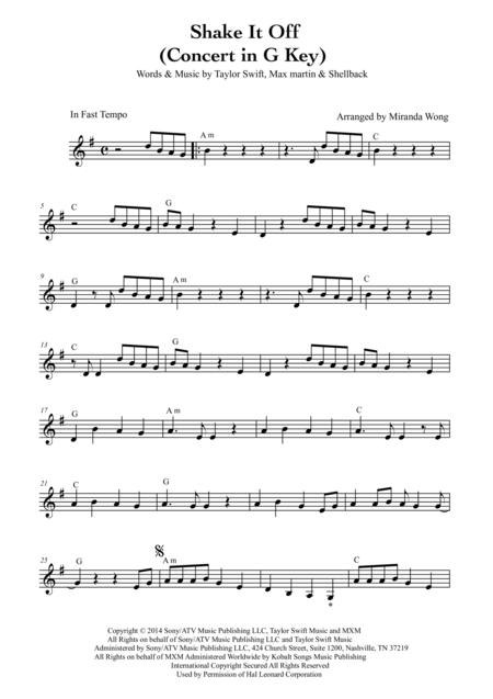 Shake it Off - Lead Sheet in G Key (Published Key)
