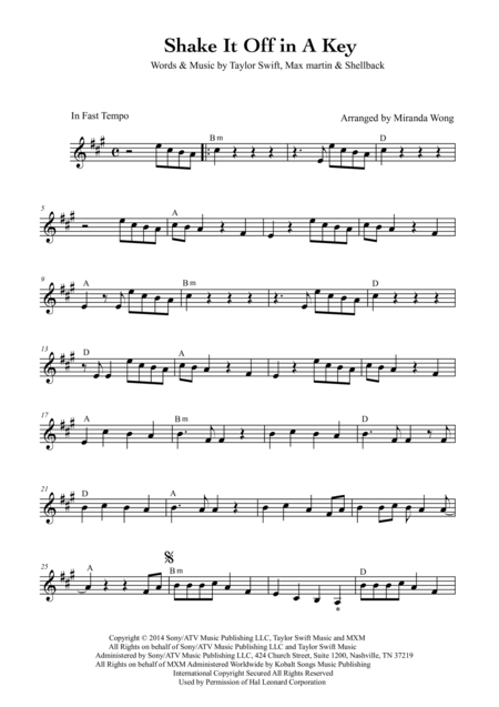 Shake it Off - Lead Sheet in A Key (With Chords)