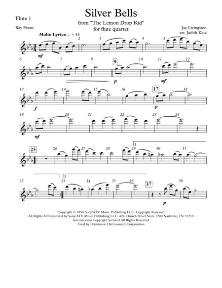 Silver Bells - for flute quartet - Parts
