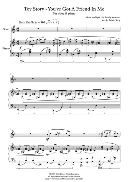 Toy Story - You've Got A Friend In Me (for oboe and piano, including part score)