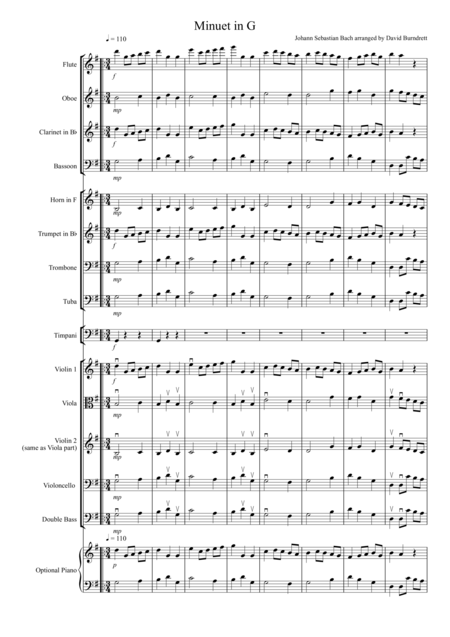 Minuet in G by Bach for School Orchestra