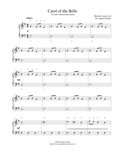 Carol of the Bells - for early intermediate piano