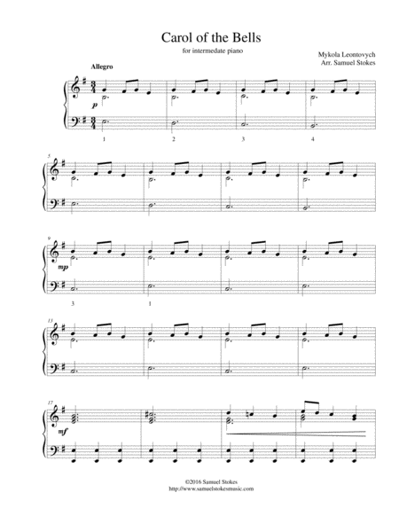 Carol of the Bells - for intermediate piano