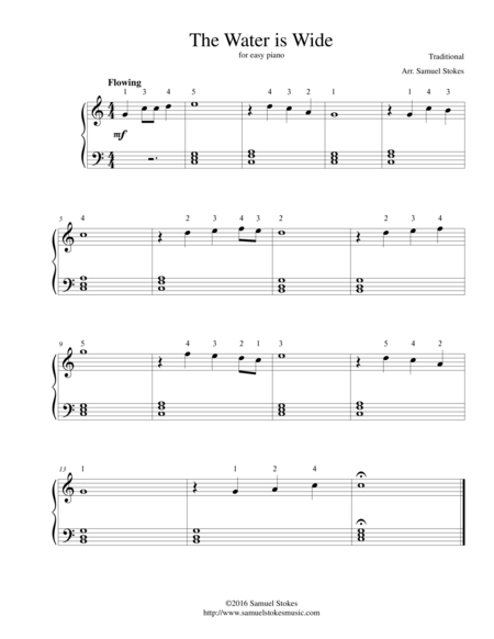 The Water is Wide - for easy piano
