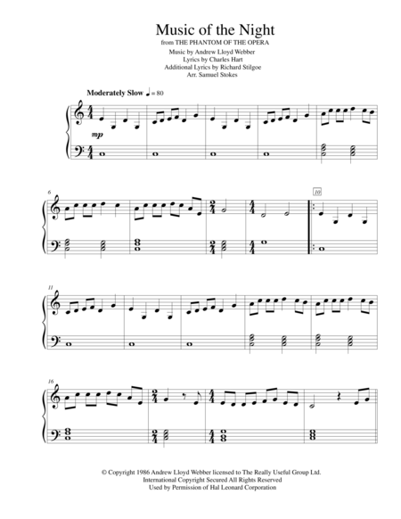 The Music of the Night - for early intermediate piano