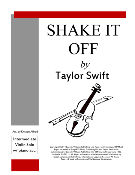 Shake It Off - Violin Solo with Piano Accompaniment