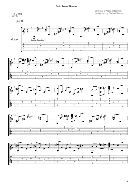 Twin Peaks Theme for Guitar
