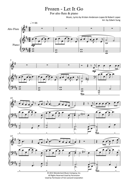 Frozen - Let It Go (for alto flute & piano, including part score)