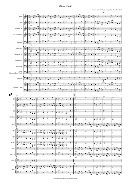 Minuet in G by Bach for School Concert Band