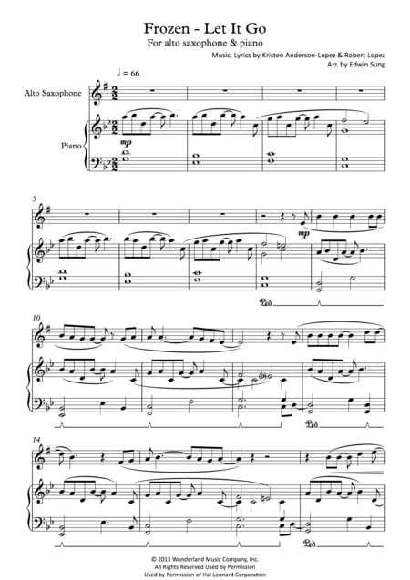 Frozen - Let It Go (for alto saxophone & piano, including part score)