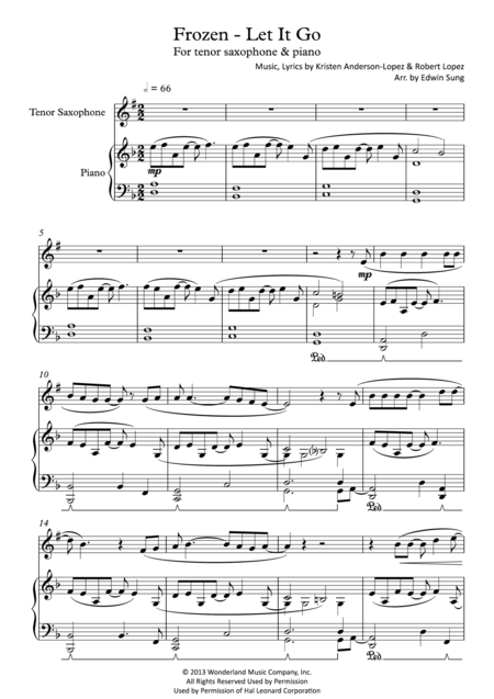 Frozen - Let It Go (for tenor saxophone & piano, including part score)