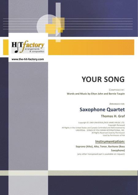 Your Song - Elton John - Saxophone Quartet