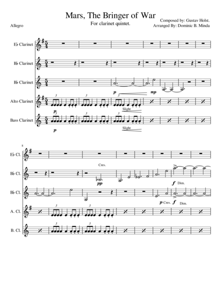 Mars-The Bringer Of war. For clarinet quintet.