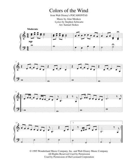 Colors of the Wind from Walt Disney's Pocahontas - for early intermediate piano