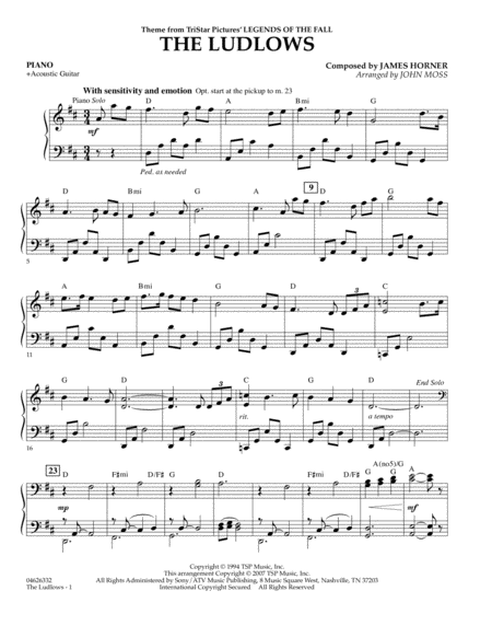 The Ludlows (Theme from Legends of the Fall) - Piano