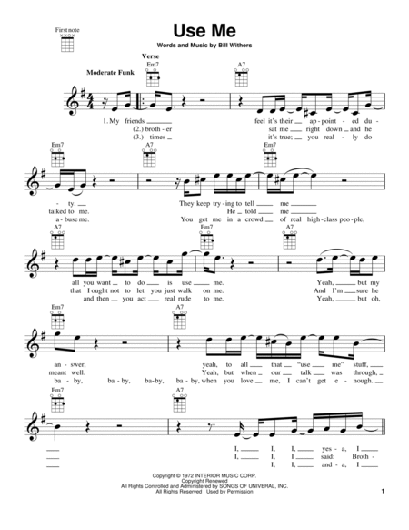 Download Use Me Sheet Music By Bill Withers Sheet Music Plus