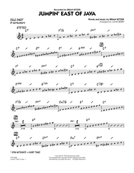 Jumpin' East of Java - Bb Solo Sheet