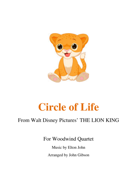 Circle of Life from The Lion King for Woodwind Quartet