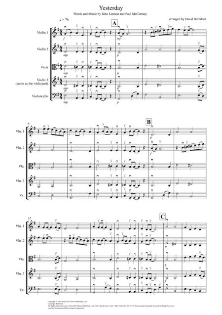 Yesterday for String Quartet