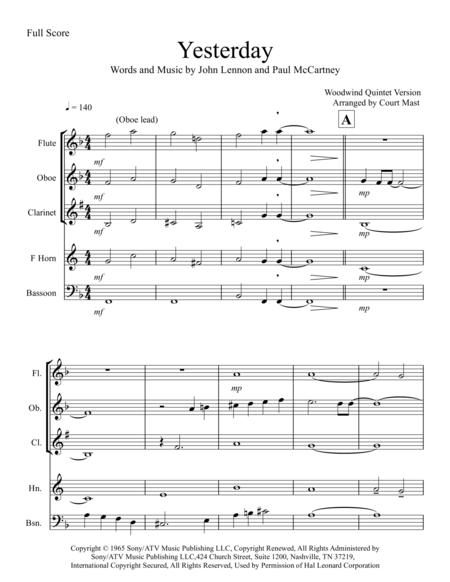 Yesterday - Woodwind Quintet