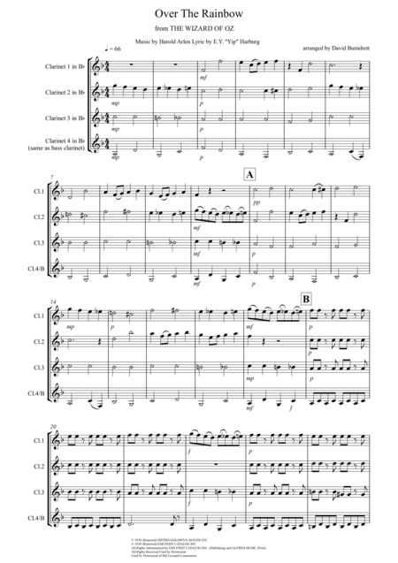 Over The Rainbow (from The Wizard Of Oz) for Clarinet Quartet