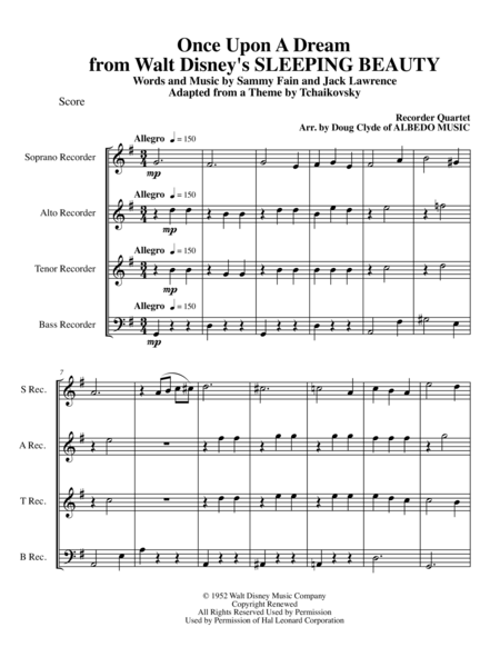 Once Upon A Dream from Walt Disney's SLEEPING BEAUTY for Recorder Quartet