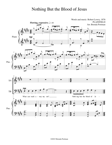 Nothing But the Blood of Jesus, arr. Brenda Portman - SATB